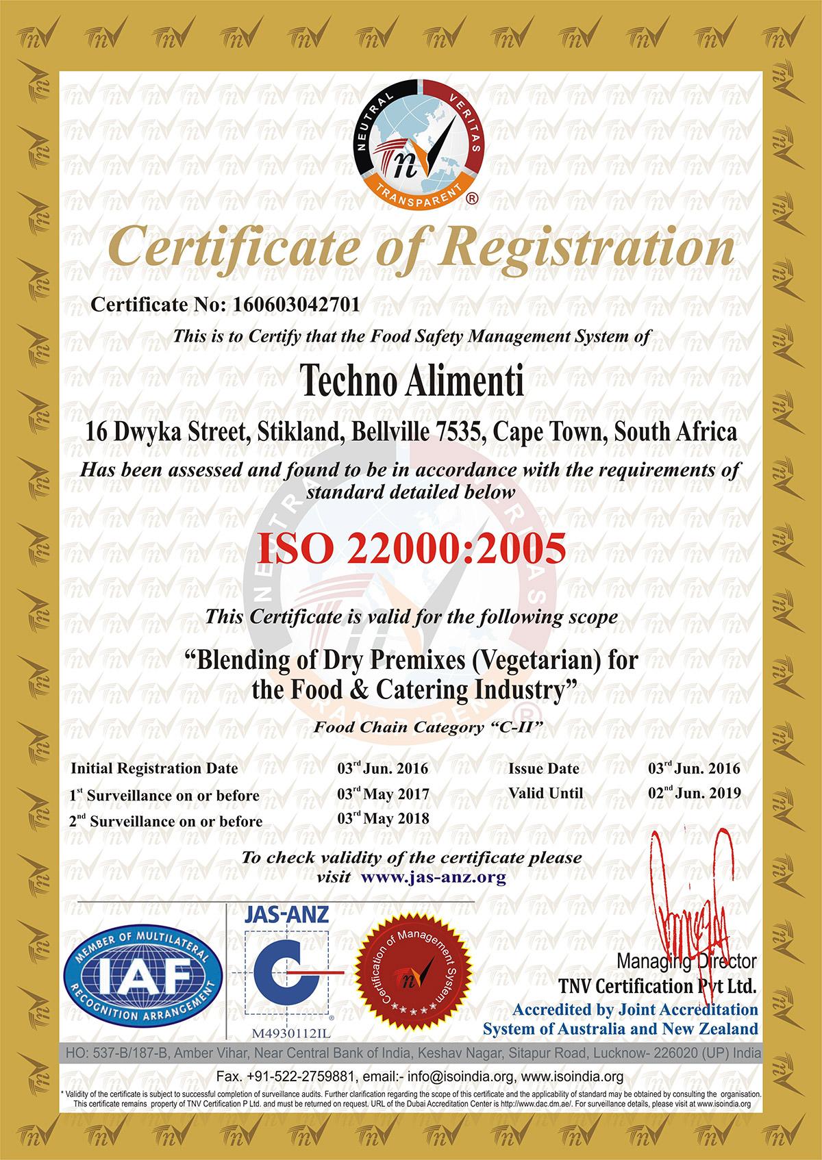 Iso 22000 2005 Certificate Blending Sa Techno Alimenti